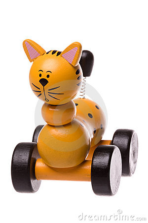Free Yellow Wooden Rolling Cat Toy Isolated Stock Photos - 13086523