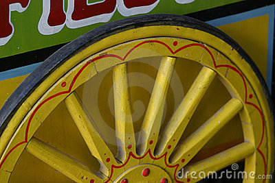 Yellow wooden wheel