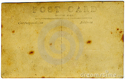 Yellowed antique postcard