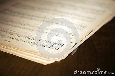 Yellowed music book
