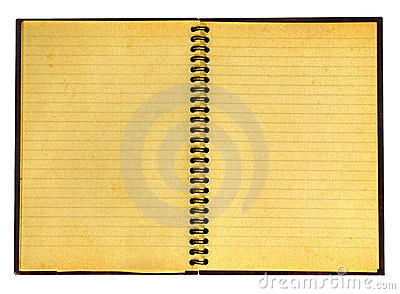 Yellowed open notebook