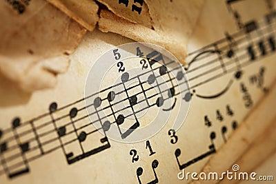 Yellowed sheet of music