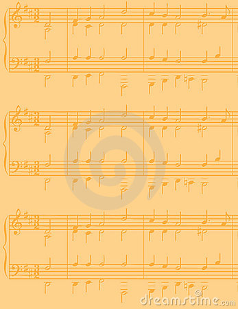 Yellowed sheet music