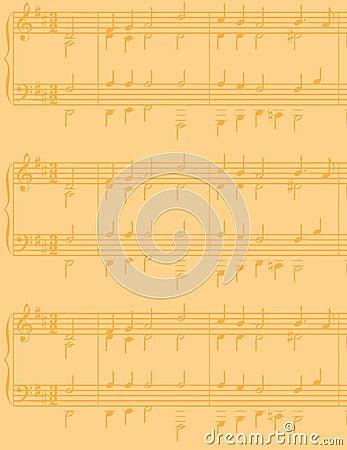 Yellowed sheet music