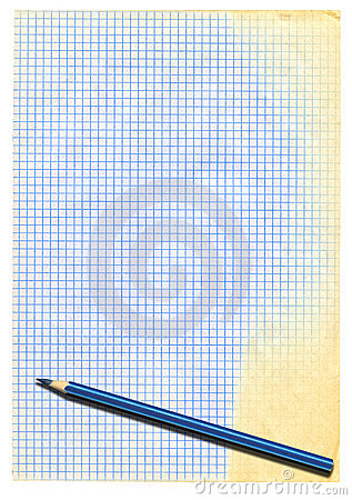 Yellowed squared paper and pencil