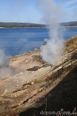 Yellowstone Lake and Hot Springs