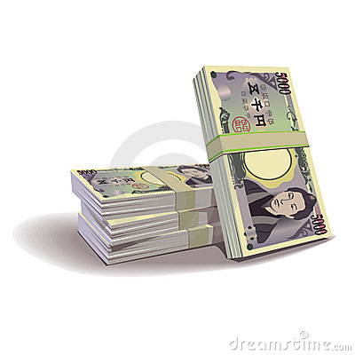 Yen banknotes  illustration, financial theme