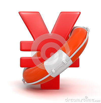 Yen Sign and Lifebuoy (clipping path included)