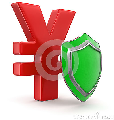 Yen Sign and Shield (clipping path included)