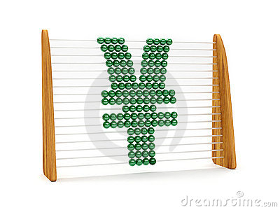 Yen symbol in an abacus
