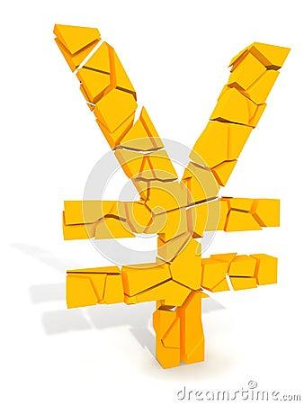 Yen symbol beaking apart