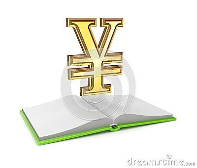 Yen symbol and opened empty book.