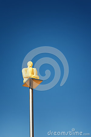 Free Yerevan, Armenia - 26 September 2016: Modern Art Statue Lantern Sitting Man Near Cascade, Giant Stairway. Royalty Free Stock Image - 92593516