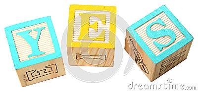 YES in Alphabet Blocks