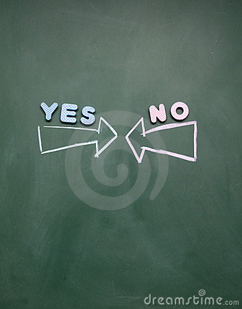 Yes and no arrow