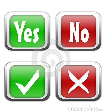Yes and no buttons