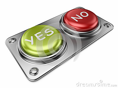 Yes and no buttons 3D. Choice concept