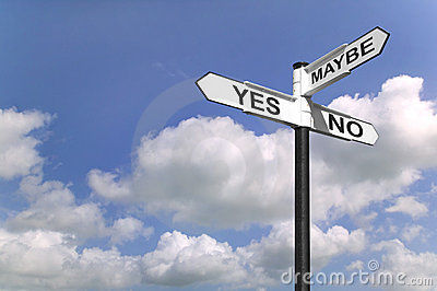 Yes No Maybe signpost