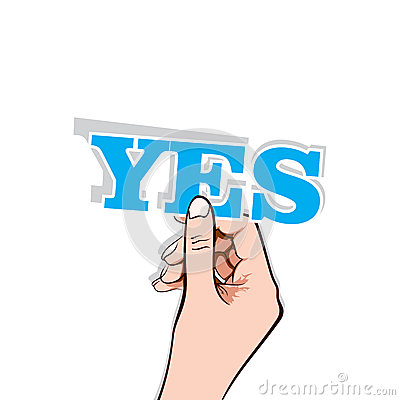 Yes text with hand