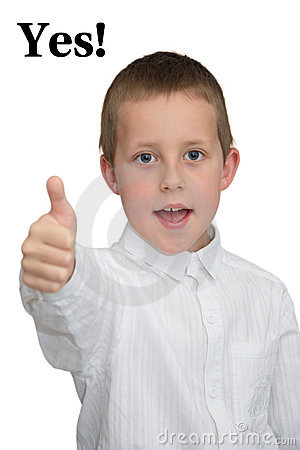 Yes! - thumb up, well-done gesture, smiling boy