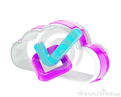Yes tick inside cloud technology icon