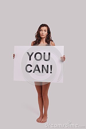 Free Yes You Can!  Full Length Of Attractive Young Woman Covering Wit Royalty Free Stock Photos - 109032118