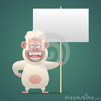 Free Yeti Character Holds Empty Banner Sign Stock Photos - 42363133