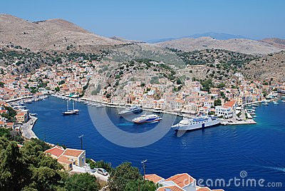 Yialos harbour, Symi island Editorial Stock Photo