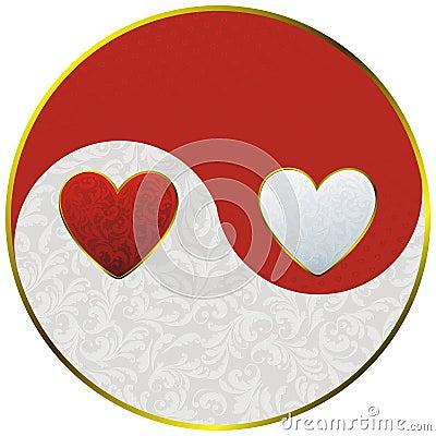 Yin yang as hearts