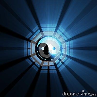 Yin Yang Bagua symbol blue flare