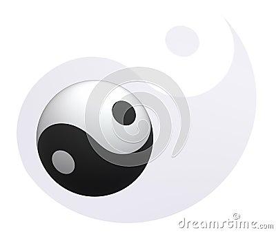 Yin-Yang ball at Yin-Yang background