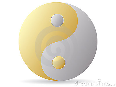 Yin and yang - golden and silver