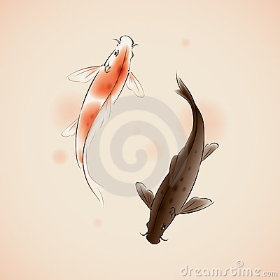 Free Yin Yang Koi Fishes In Oriental Style Painting Royalty Free Stock Images - 15822789