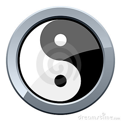 Yin and Yang Metal Button