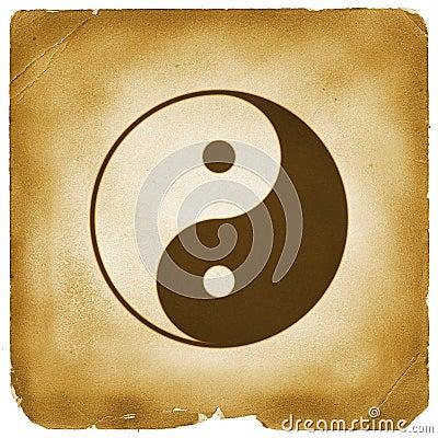 Yin Yang symbol aged old paper