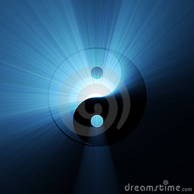 Yin Yang symbol blue light flare