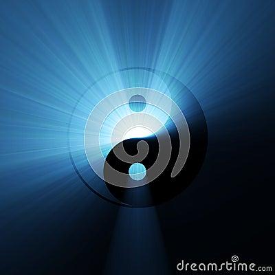 Yin Yang Symbol Blue Flare Stock Image