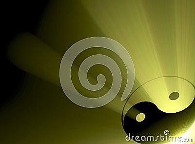 Yin Yang symbol sun light flare