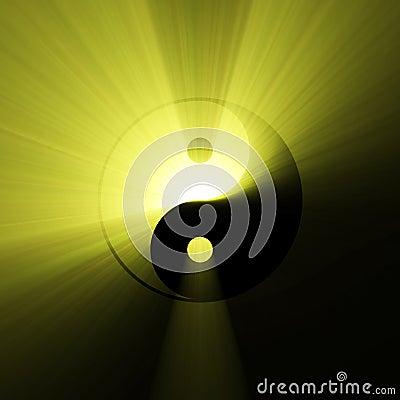 Yin Yang symbol sunlight flare