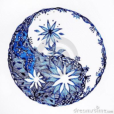 Free Yin Yang Symbol Watercolor Painting Minimal Design Hand Drawn Pattern Royalty Free Stock Images - 90336979