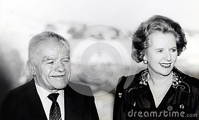 Yitzhak Shamir and Margaret Thatcher Editorial Photo