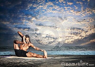 Yoga akarna dhanurasana pose