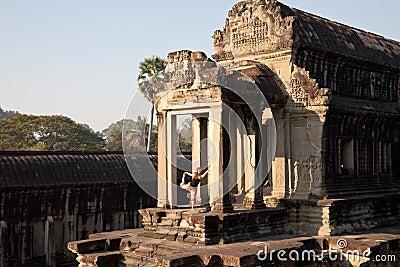 Yoga at Angkor Wat, Cambodia Editorial Photo