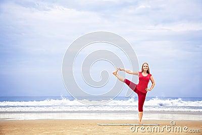 Yoga balance on one leg