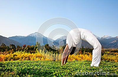 Yoga chakrasana wheel pose