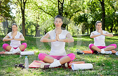 Yoga class in park