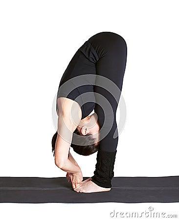 Yoga excercising padangushthasana
