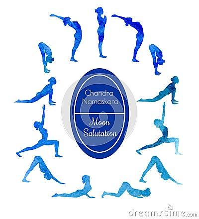yoga exercise moon salutation stock illustration  image