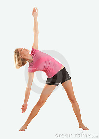 Yoga - Extended Triangle Pose isolated on blue