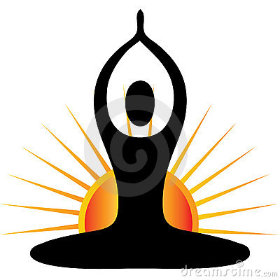 Yoga Figure With Sun Logo Royalty Free Stock Images - Image: 22354829
